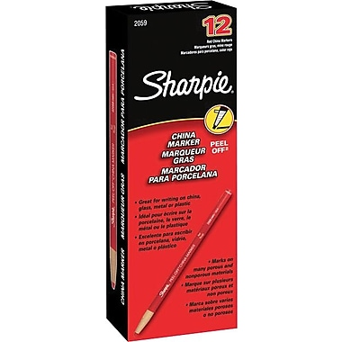 Sharpie Peel-Off China Marker, Red, Dozen