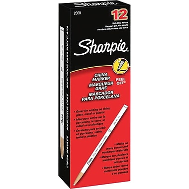 Sharpie Peel-Off China Marker, White, Dozen