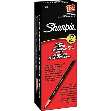 Sharpie Peel-Off China Marker, Black, Dozen