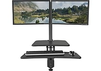 Up-Rite Desk Mounted Sit/Stand Workstation - Dual Monitor Mounts