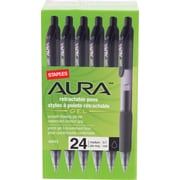 Staples®Aura™ Gel Retractable Pen, Medium Point, 0.7mm, Black Ink/Clear Barrel, 24/Pack