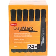 Staples® DuraMark™ Permanent Marker, Chisel Tip, Black, 24/Pack