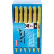 Staples® Hype!™ Gripped Pen Style Highlighters, Chisel Tip, Yellow, 36/Pack