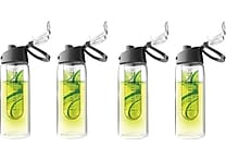 Flavour It 2 Go Water Bottles, 4/Pack, Black