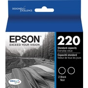 Epson DURABrite Ultra 220 Black Ink Cartridges, (T220120-D2), Twin Pack