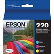 Epson DURABrite Ultra 220 Color C/M/Y Cartridge, (T220520-S), Combo 3/Pack