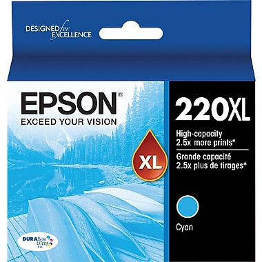 Epson 220XL, Cyan Ink Cartridge, High Capacity (T220XL220)