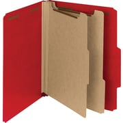 "Smead Pressboard Classification Folder, 2"" Exp, 2 Dividers, Letter, Bright Red, 10/Bx"