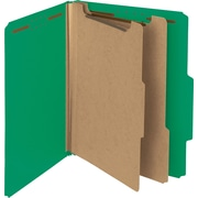 "Smead Pressboard Classification Folder, 2"" Exp, 2 Dividers, Letter, Green, 10/Bx"