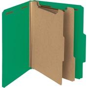 "Smead Pressboard Classification Folder, 2"" Exp, 2 Dividers, Letter, Green, 10/Bx"