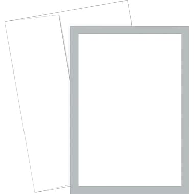 Great Papers® Metallic Silver Border Flat Card Invitation and Envelopes, 20/Pack