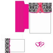 Great Papers® Classic Damask With Fuchsia Invitation & Note Card Kit, 50/Pack