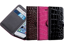 Ebee LPU Crocodile Leather Wallet Case for Iphone 5 & 5S, Assorted Colors