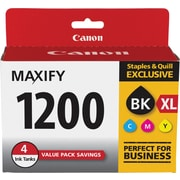 Canon PGI-1200 XL Black High Yield/ PGI-1200 Color C/M/Y Standard Ink Cartridges (9183B005), 4/Pack