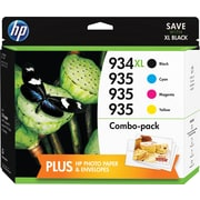 HP 934XL/935 High Yield Black and Standard C/M/Y Color Ink Cartridges w/Media Value Kit (F6U04FN#140), Combo 4/Pack