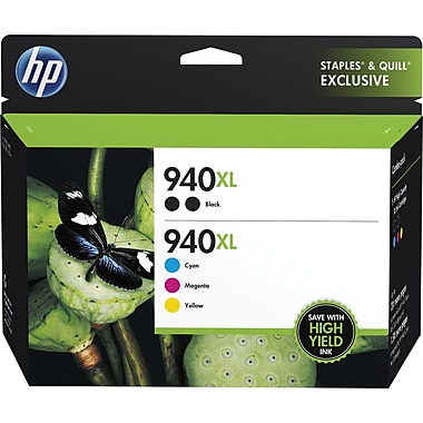 HP 940XL High Yield Black and C/M/Y Color Ink Cartridges (F6V11FN#140), Combo 5/Pk