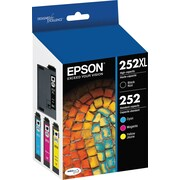 Epson DURABrite Ultra 252XL/252 High Yield / Standard Color C/M/Y Ink Cartridges (T252XL-BCS), Combo 4/Pack
