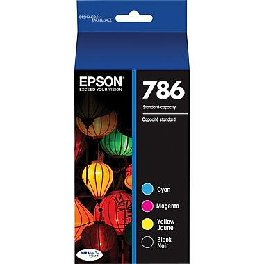 Epson 786 DURABrite Black and Color C/M/Y Ink Cartridges (T786120-BCS), Combo 4/Pack