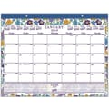 2015 Staples® Floral Monthly Desk Pad, 21-3/4in. x 17in.