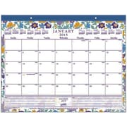 2015 Staples® Floral Monthly Desk Pad, 21-3/4 x 17