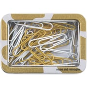 Cynthia Rowley Paper Clip Tin, Gold Abstract (26912)