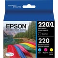 Epson DURABrite Ultra 220XL/220 High Yield Black and Standard Color C/M/Y Cartridge, (T220XL-BCS), Combo 4/Pack