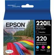 Epson DURABrite Ultra 220XL/220 Cartridge, High-Yield Black and Standard Color C/M/Y Combo, 4/Pack (T220XL-BCS)