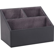 Staples Desk Organizer Faux Leather, Black