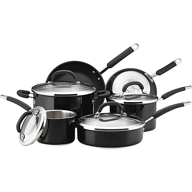 Rachael Ray Stainless Steel II Colors Dishwasher Safe 10-Piece Cookware Set, Black