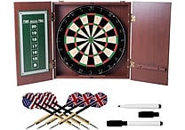Realistic Mahogany Finish Dartboard Cabinet Set