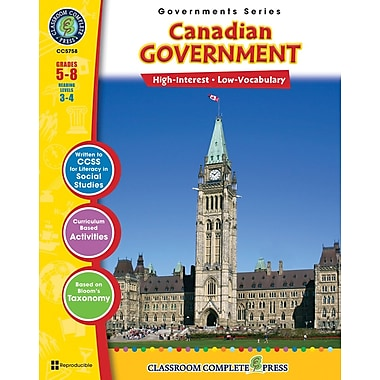 eBook: Our Canadian Government, Grades 5-8, by Classroom Complete Press (PDF version, 1-User Download), 9781553199564