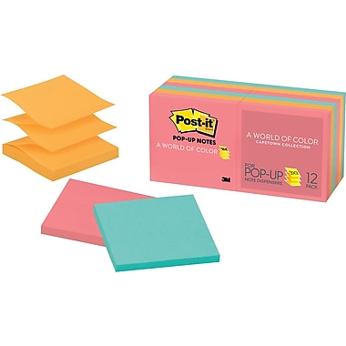 Post-it® 3in. x 3in. Cape Town Pop-Up Notes, 12 Pads/Pack