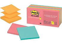 Post-it® Pop-up Notes, 3' x 3', Cape Town Collection, 12 Pads/Pack (R330-12AN)