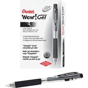 Pentel Wow Gel Pens, Medium Point, Black, 24/Pack (K437ASW2)