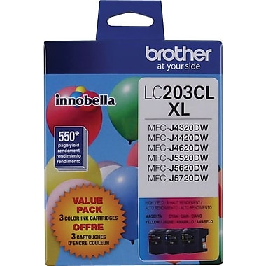 Brother LC2033PKS Tri-Colour Ink Cartridges, High-Yield, 3/Pack