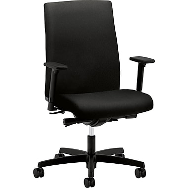 basyx by HON Ignition Fabric Executive Office Chair, Adjustable Arms, Black (HONIW104CU10)