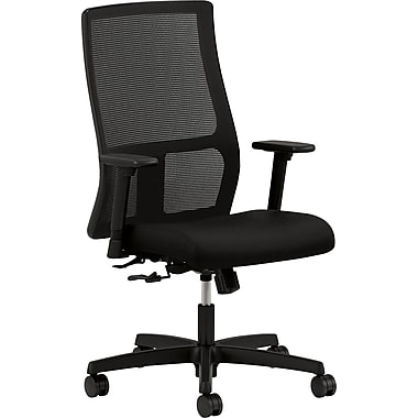 basyx by HON Ignition Leather Executive Office Chair, Fixed Arms, Black (HONIW101CU10)