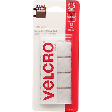 VELCRO® Brand Sticky Back™ Squares 3/4in., White, 12 sets