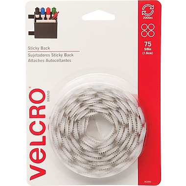 VELCRO® Brand Sticky Back™ Coins 5/8in., White, 75 sets