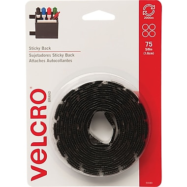 VELCRO® Brand Sticky Back™ Coins 5/8in., Black, 75 sets
