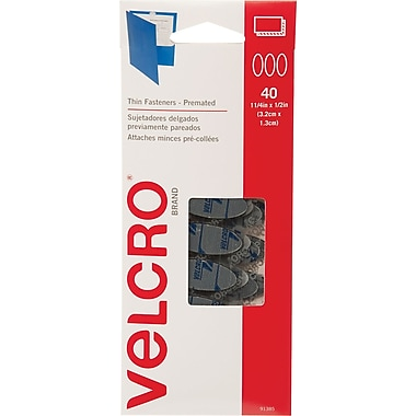 VELCRO® Brand Wafer Thin Pre-Mated Ovals, Black, 40 sets