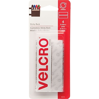 Velcro® 3/4in. x 3 1/2in. Sticky Back Tape Strips, White