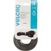 VELCRO® Brand Reusable Ties, Black & Gray, 50/Pack