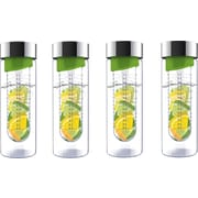 Flavour-It 20 oz Glass Water Bottles with Fruit Infuser, 4/Pack, Green/Silver