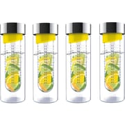 Flavour-It 20 oz Glass Water Bottles with Fruit Infuser, 4/Pack, Yellow/Silver