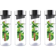 Flavour-It 20 oz Glass Water Bottles with Fruit Infuser, 4/Pack, Smoke/Silver