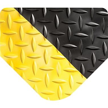 Wearwell – Tapis anti-fatigue avec motifs à diamant série SpongeCote, 9/16 po d'épaisseur, 2 x 3 pi, noir avec bordures jaunes