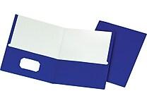 Staples® School Grade 2 Pocket Folder, Blue, 25/Box
