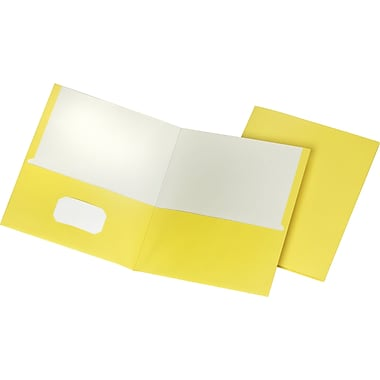 Staples School Grade 2 Pocket Folder, Yellow, 25/Box (50761/27538-CC)
