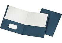 Staples® School Grade 2 Pocket Folder, Navy, 25/Box